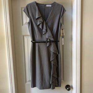 Calvin Klein ruffle front dress w/belt Size 6